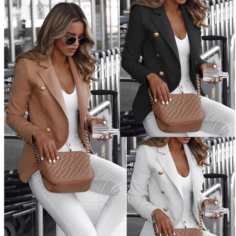 2019 New Womens Blazer Casual Fashion Long Sleeve Double Breasted Female Outerwear Notched Collar Suit Office Lady Solid Jackets