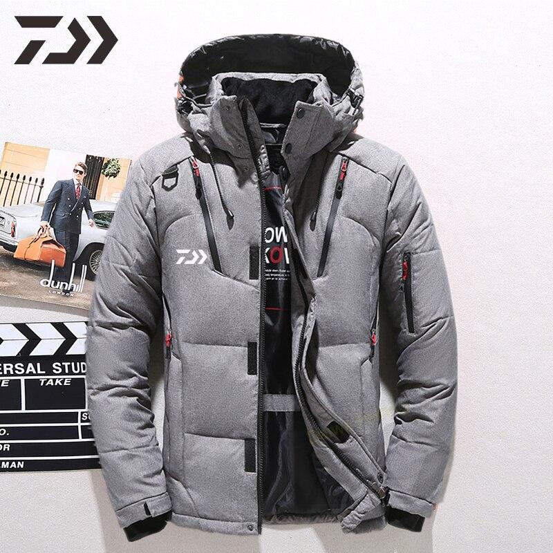 daiwa jaqueta de pesca inverno homem manter quente veludo multi bolso com capuz roupas de pesca