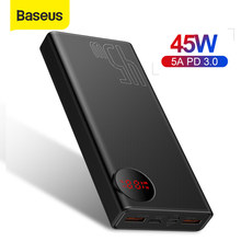 Baseus 20000mAh Porable 45W USB Tipo C PD Carregamento Rápido Banco de Potência Powerbank Carregador de Bateria Externa Para O Smartphone laptop