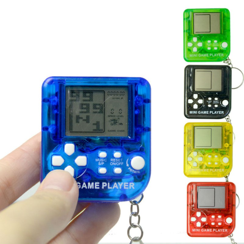 Retro Tetris Game Box Mini Key Chain Kids Handheld 5 Kinds Colors Funny Classic Games Machine With Keychain Ring