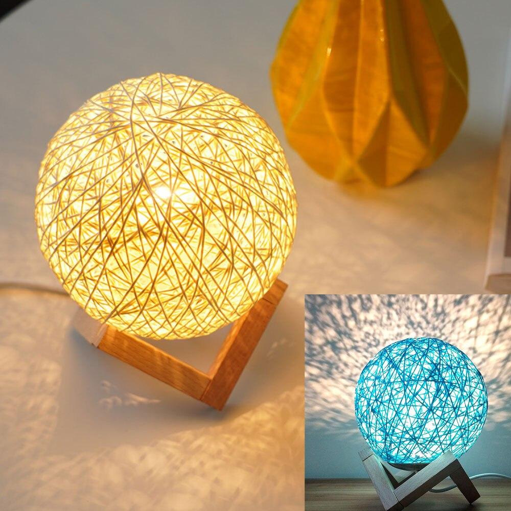 Dimmable пеньковый шар ночной Светильник s, настольная лампа для украшения дома, гостиной, спальни украшения Настольный светильник для детей