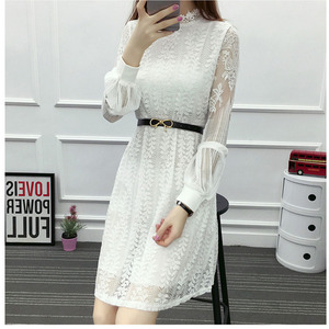 Открытое белое платье, сексуальное женское шифоновое платье средней длины, платье с рукавом-фонариком, о-образным вырезом и длинным рукавом...