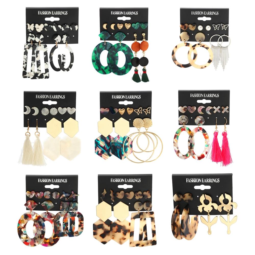 New 2020 Bohemian Vintage Tassel Acrylic Earrings For Women Big Dangle Earrings Set Pearl Drop Earring Female Fashion Jewelry
