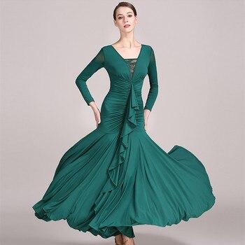 2019 Green Standard Women's Dances Dresses for Ballroom Dancing Waltz Ballroom Standard Dress Modern Dance Costumes Dance Wear