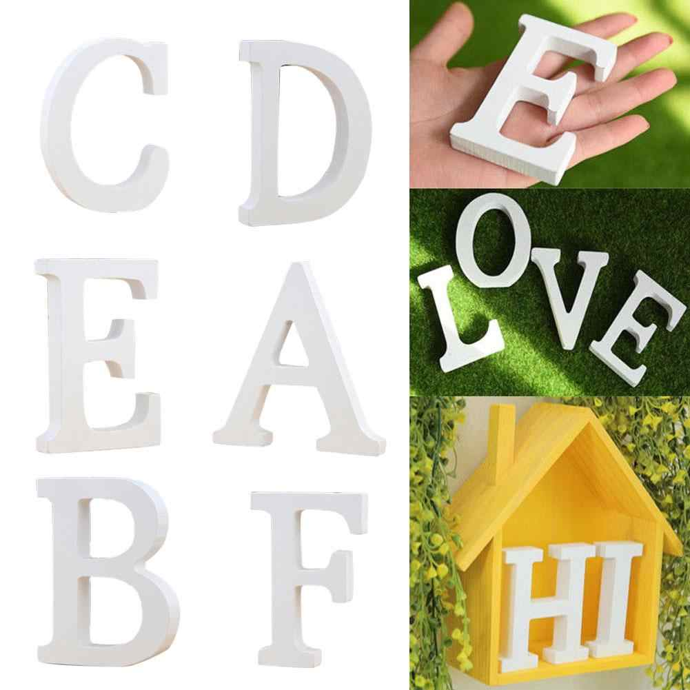 Hot 1Pc Houten Engels Letters Ornament Wit Wedding Party Decoraties Alfabet Vorm Diy Baby Douche Mariage