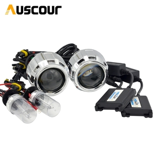 Image 1 - 2pcs 2.5 inch Hid Bi xenon Projector Lens Shroud 35W 5000K Xenon Ballast Bulb Car Assembly Kit Fit for h1 h4 h7 Car Model Mofify