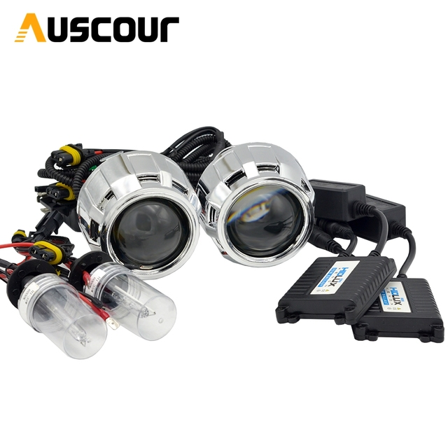 2pcs 2.5 inch Hid Bi xenon Projector Lens Shroud 35W 5000K Xenon Ballast Bulb Car Assembly Kit Fit for h1 h4 h7 Car Model Mofify