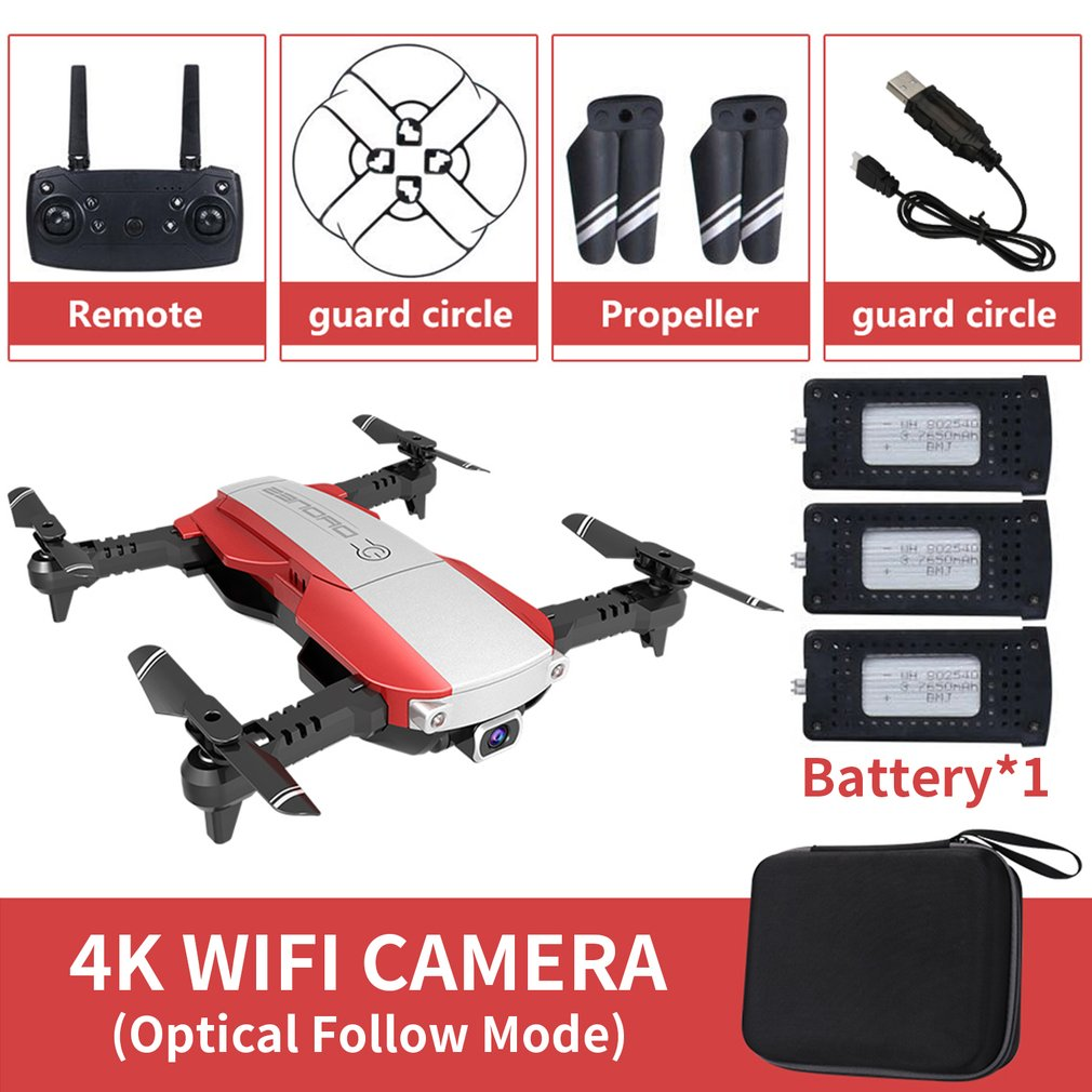 LANSENXI-NVO RC Drone 4K Camera Drone WiFi Optical Flow Real Time Aerial Video RC Quadcopter Aircraft Toy With 3 Battery dron
