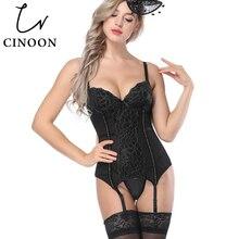 CINOON Sexy Corset femmes creux dentelle haut Push Up noir/blanc sous vêtements Corsets taille mince Bustier Bustiers Lingerie
