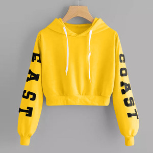 Korean Sweatshirt Women Letters Yellow Hoodies Clothes Soft Crop Tops Warm Long Sleeve Hoody Female Pullovers Cropped Sudaderas