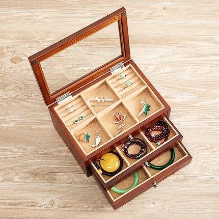fashin 3layer wooden jewelry box with glass window organiser box jewerly organizer makeup organizer drawer organizer