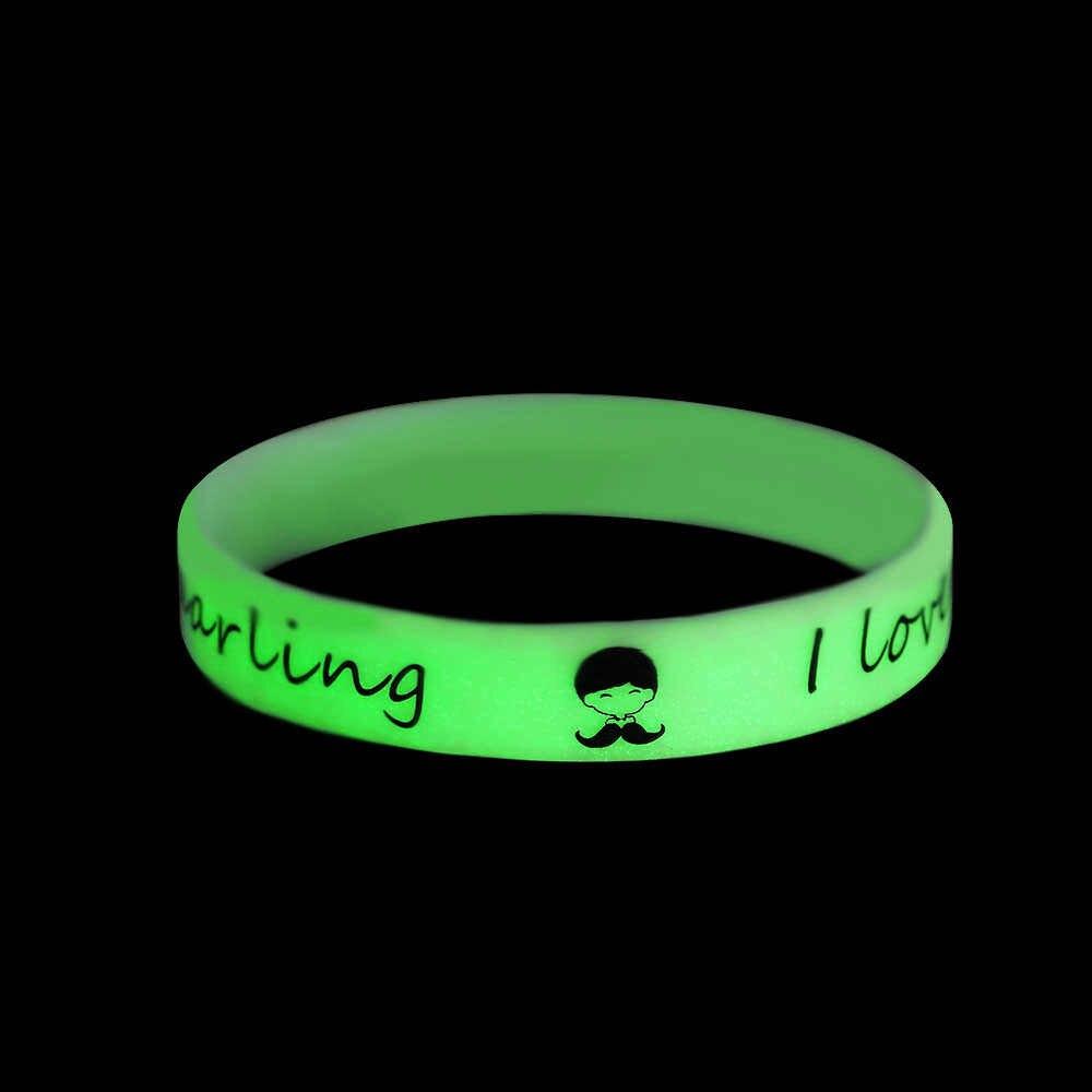 1PC Unisex silikonowa bransoletka Luminous żel krzemionkowy mankiet nadgarstek gumowy połysk bransoletka biżuteria świecące w ciemności zaopatrzenie firm