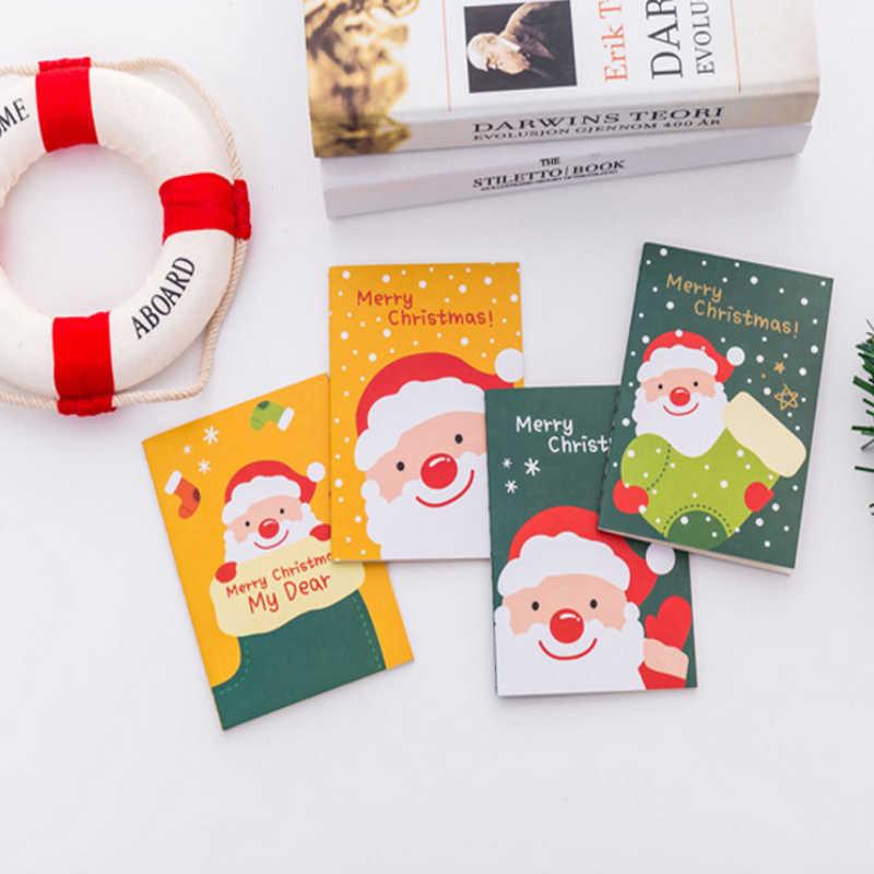 1 יח'\חבילה Kawai קריקטורה חג המולד סנטה קלאוס כיס פנקס חמוד ספר מתנת חג המולד שמח מחברת מכתבים