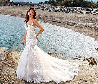 רויאל אלגנטיות בת ים תחרת שמלות כלה ללא שרוולים Fit ואבוקת הכלה שמלות 2020 vestido דה noiva מכס עשה