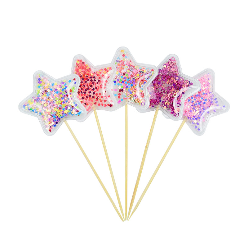 5Pcs PVC Transparent Cake Decorating Tools for Birthday Baby Shower Wedding Cake Decorations Star/Unicorn Cupcake Toppers