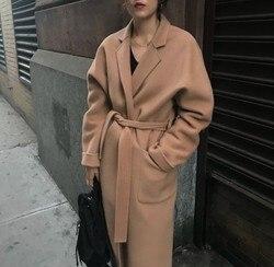 Outono inverno estilo coreano casaco de lã nova 2020 moda feminina turn down collar longo casacos de lã senhoras elegante camelo outwear
