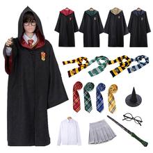 Dzieci dorosły Potter kostium Hufflepuff Slytherin Cloak hermiona mundurek szkolny kobiety mężczyźni kostium na Halloween Cosplay tanie tanio AIFEIYIYI CN (pochodzenie) Płaszcz Film i TELEWIZJA Unisex Zestawy harris Poliester Kostiumy