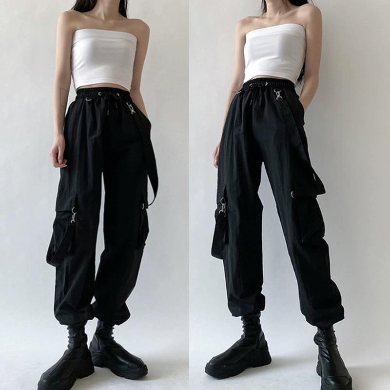 Pantalon Cargo Harajuku pour femmes, Streetwear noir à bretelles détachables, taille élastique, décontracté, grande taille