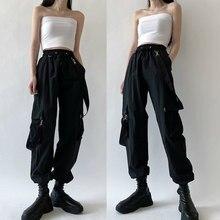 Moda feminina harajuku calças de carga preto destacável cinta calças femininas cintura elástica streetwear calças mais zise calças casuais