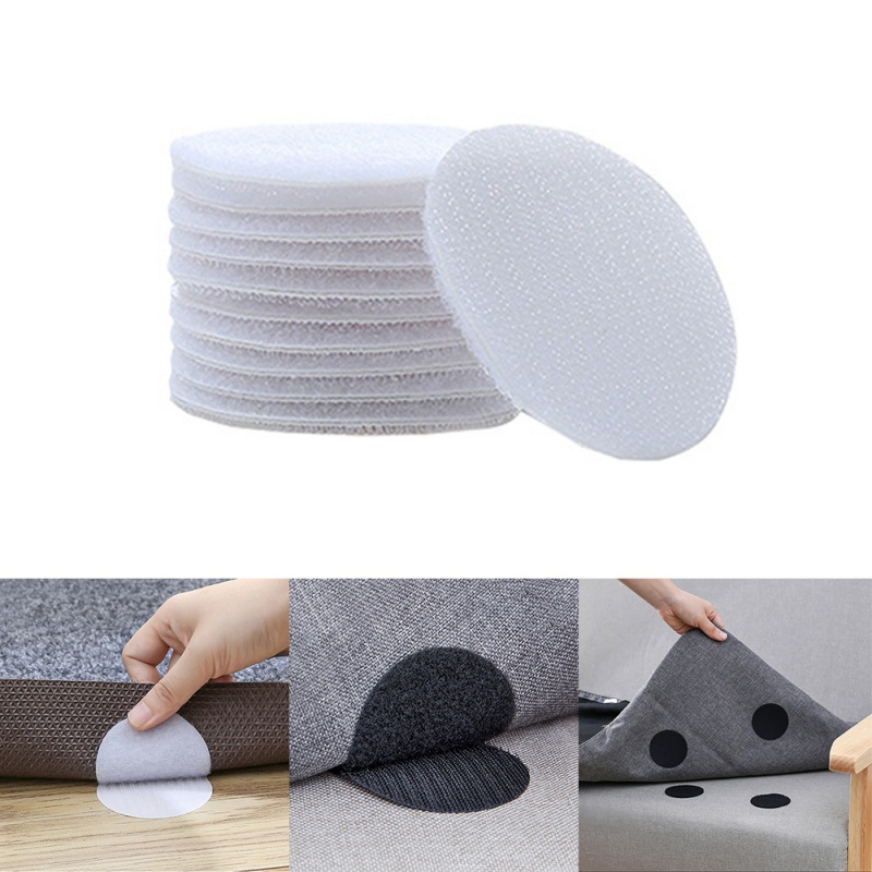 Carpet Fixing Glue Rug Double Sided Hook And Loop Adhesive Fabric Mounting Tape Sticky Pads For Couch Cushion, Rug Sheet Holde
