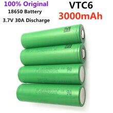 100% original 3.7v 18650 vtc6 3000mah bateria de lítio recarregável us18650vtc6 30a descarga para brinquedos lanterna