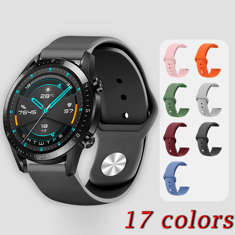 17 Colors 22mm Watch Band For Huawei GT GT2 Honor Magic Watch 2 46mm Strap Silicone Watchbands Bracelet Sport Wristband