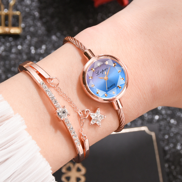 Lvpai Merk Vrouwen Horloge Armband Goud Casual Kleine Horloge Gouden Geometrische Glas Oppervlak Kleurrijke Horloge Dames Quartz Klok