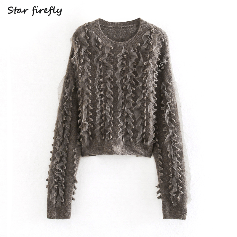 Star Firefly Fashionable Za Sweater Women 2019 Spring And Autumn Elegant Slim Round Neck Tulle Stitching Short Knitwear Female