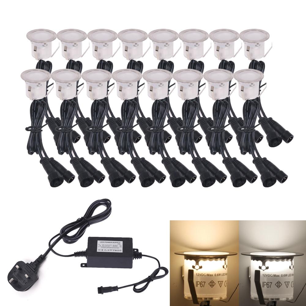 1-16pcs LED Deck Light 12V Underground Lamp IP67 Waterproof Garden Landscape Lighting LED Spotlight With EU/US/UK/AU Power