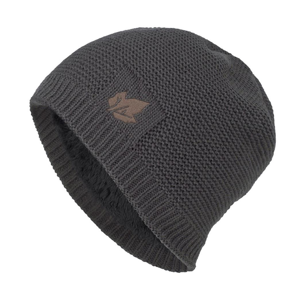 Autumn Hat Knit Vintage Soild Black Men's Hat Warm Wear Down Headgear Solid Color Pile Cap Casual Earmuffs Hat Accessories