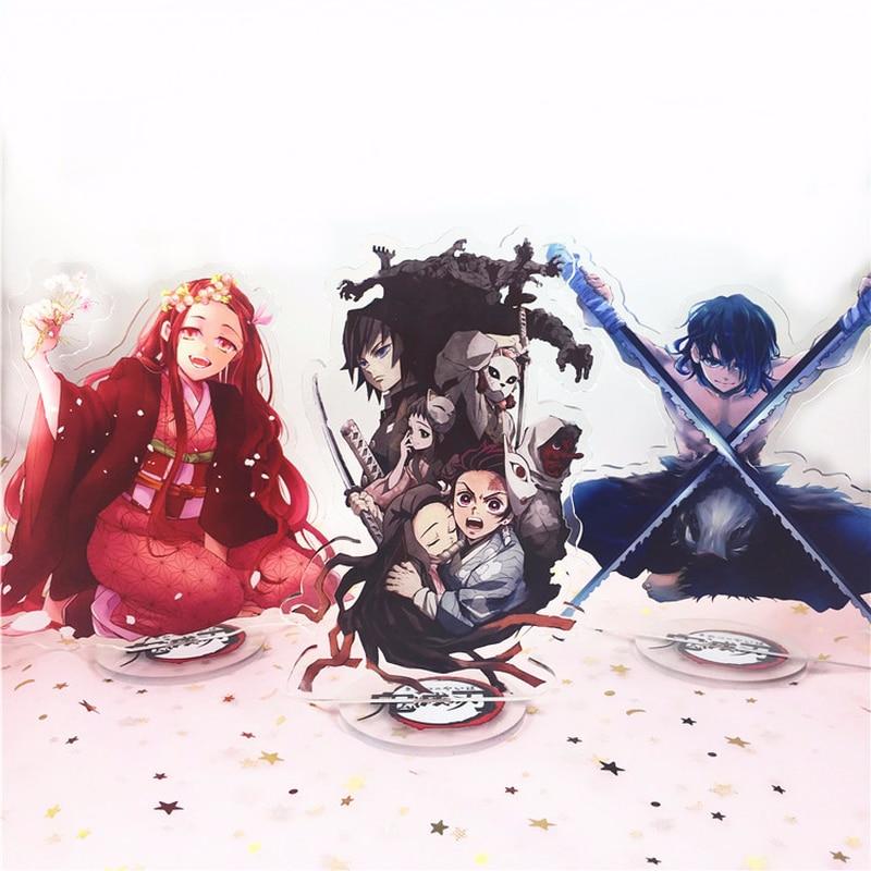 Anime Demon Slayer Kimetsu No Yaiba Keychain Kamado Tanjirou Hashibira Inosuke Tomioka Giyuu Cute Fun Cartoon Acrylic Key Chain
