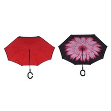 2 Pcs Folding Reverse Umbrella Double Layer Inverted Windproof Rain Car Umbrellas for Women, Pink Flower & Red(China)