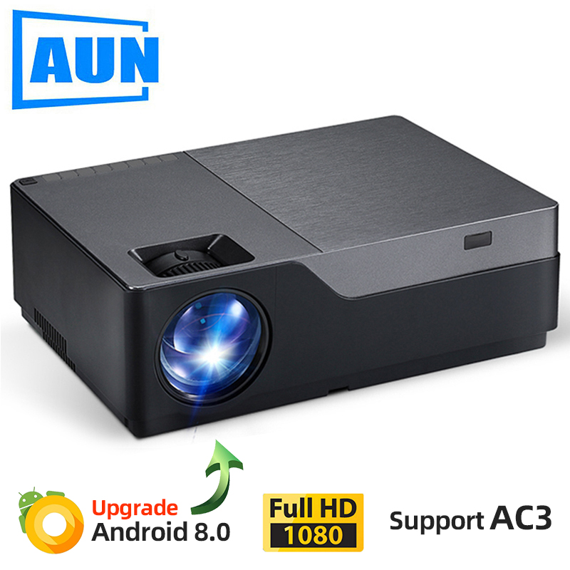 AUN Full HD Projector M18UP, 1920x1080P, Android 8.0 WIFI Video Beamer, LED Projector for 4K Home Cinema (Optional M18 AC3)(China)