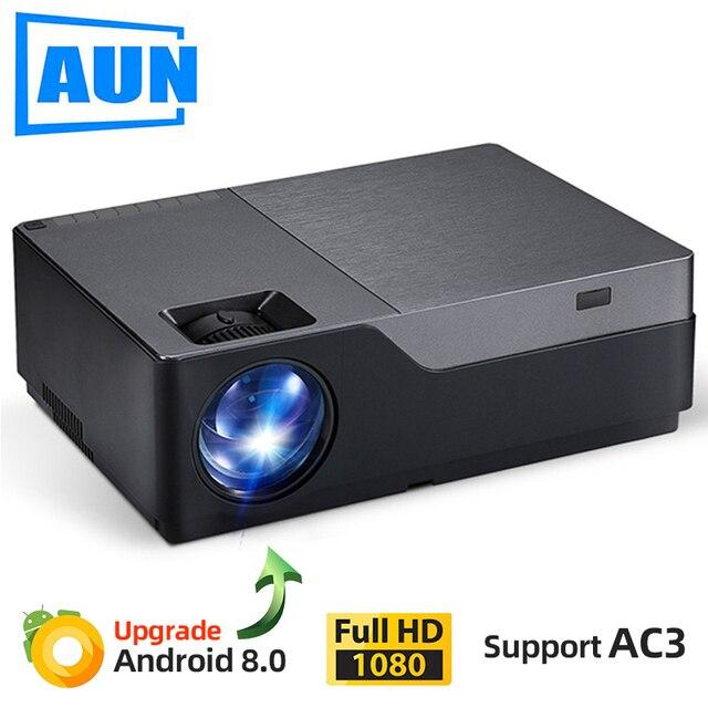 AUN projecteur Full HD M18UP, 1920x1080P, Android 8.0 WIFI vidéoprojecteur, projecteur LED pour Home Cinema 4K (en option M18 AC3)