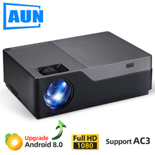 Aun completo projetor hd m18up, 1920x1080 p, android 8.0 wifi vídeo beamer, projetor led para cinema em casa 4 k (opcional m18 ac3)
