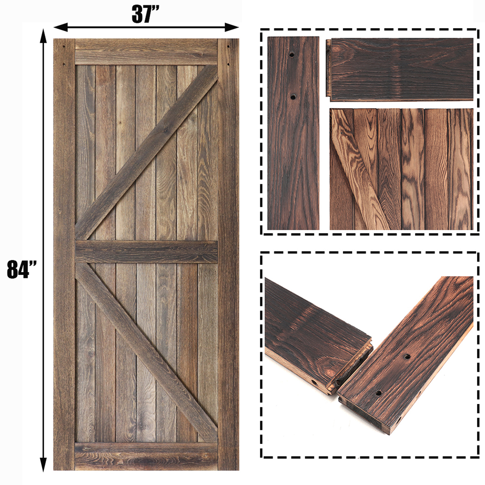 KINMADE 1-3/8in X 37in X 84in Knocked Down DIY Wood Barn Door Rustic Style Carbonized Solid Pine Pre-Drilled Sliding Wood Door