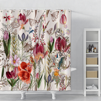 Plant Series Shower Curtain For Bathroom Waterproof Polyester Shower Curtain Print Flowers Butterflies Shower Curtain With Hooks