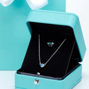 SHINETUNG S925 Sterling Silver stylish panda inlaid with blue zircon necklace, 1: 1 high-end women's jewelry with logo фото