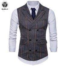 RUELK-veste de costume de marque à la mode pour homme, veste sans manches, à carreaux, grande taille 2020, printemps et automne décontracté