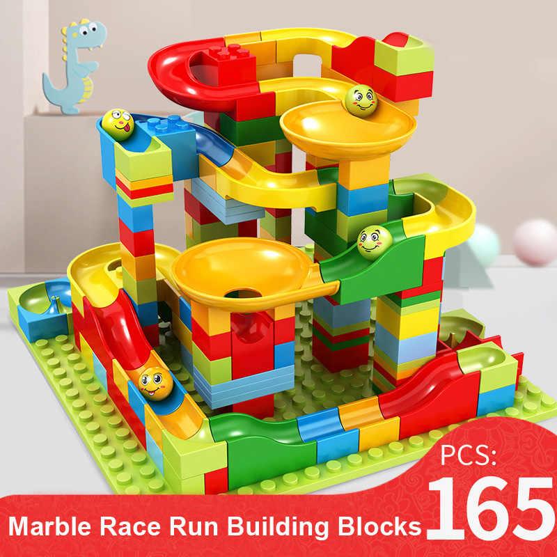165/330PCS Marble Race Run DIY Maze Balls klocki plastikowe bloki ślizgowe cegły konstruktor zabawki dla dzieci prezenty