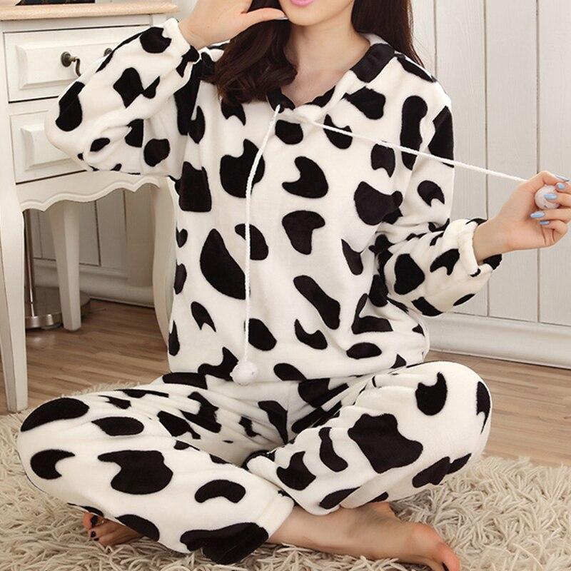 Women Pyjamas Sets Pajamas Sleepwear Suit Thick Warm Coral Flannel Nightgown Female Cartoon Animal Pijama Autumn Winter 13