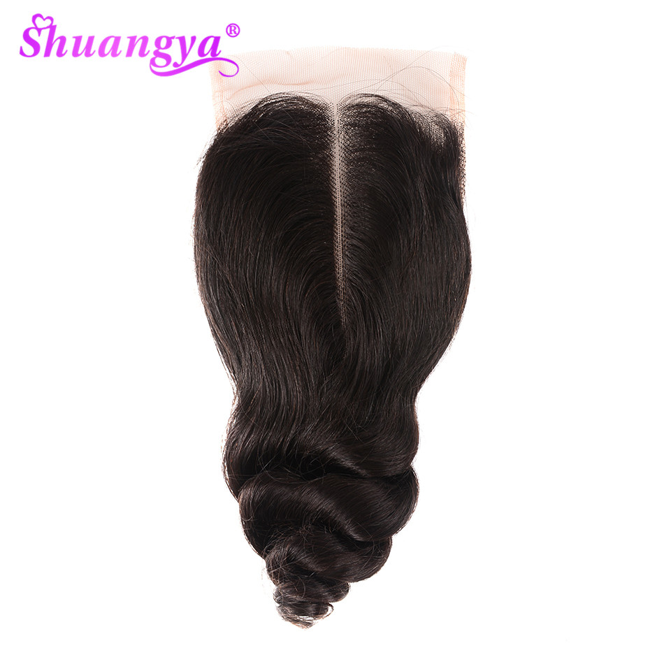 Shuangya Hair Brazilian Loose Wave Closure Free/Middle Part 4*4 Swiss Lace Closure Medium Brown Human Hair Closure Remy Hair