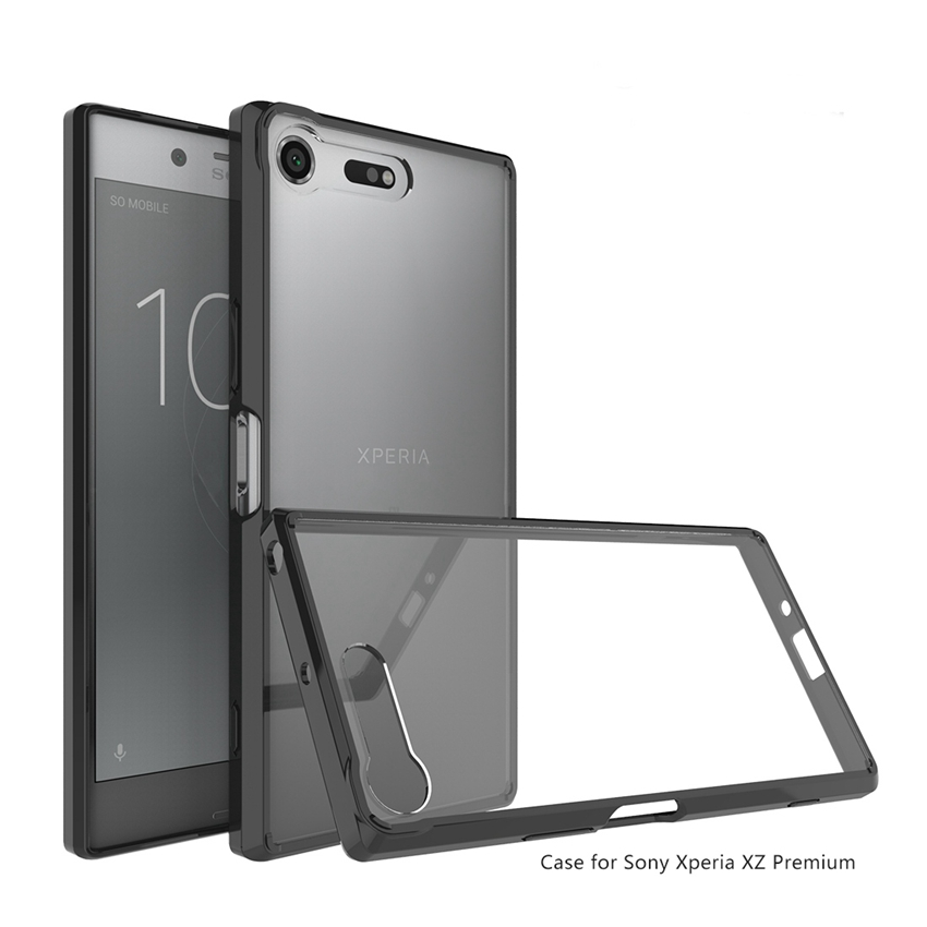 Hot Hybrid Stötsäker täcka Air Cushion Frame Case med akryl Crystal Clear Back Shell För Sony Xperia XZ Premium Fundas Coque