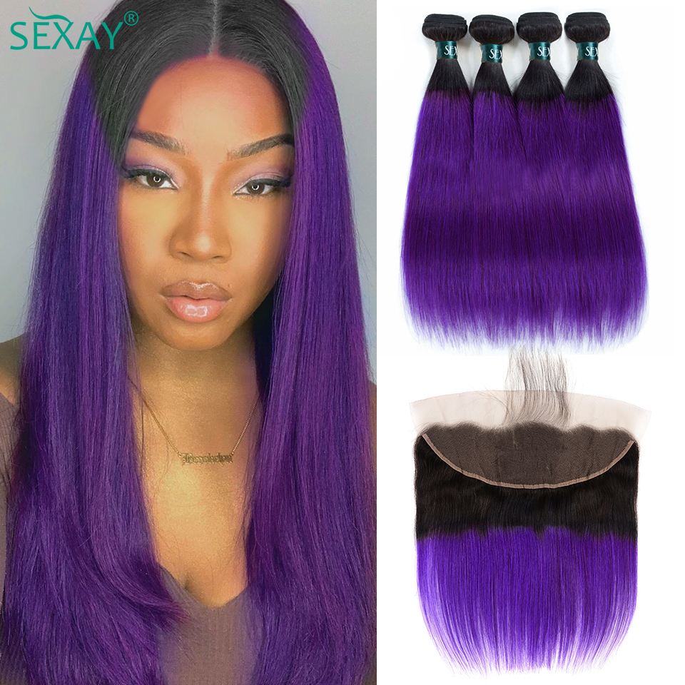 SEXAY Straight Hair Bundles With Frontal Pre-colored Brazilian Romantic Purple Ombre Human Hair Bundles With Frontal Closures