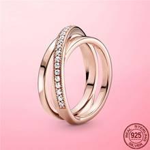 2021 novo 100% 925 prata esterlina crossover pave triplo anel de banda para mulheres fina prata esterlina feminino jóias anel anel anel anel anel anel anel anel anel