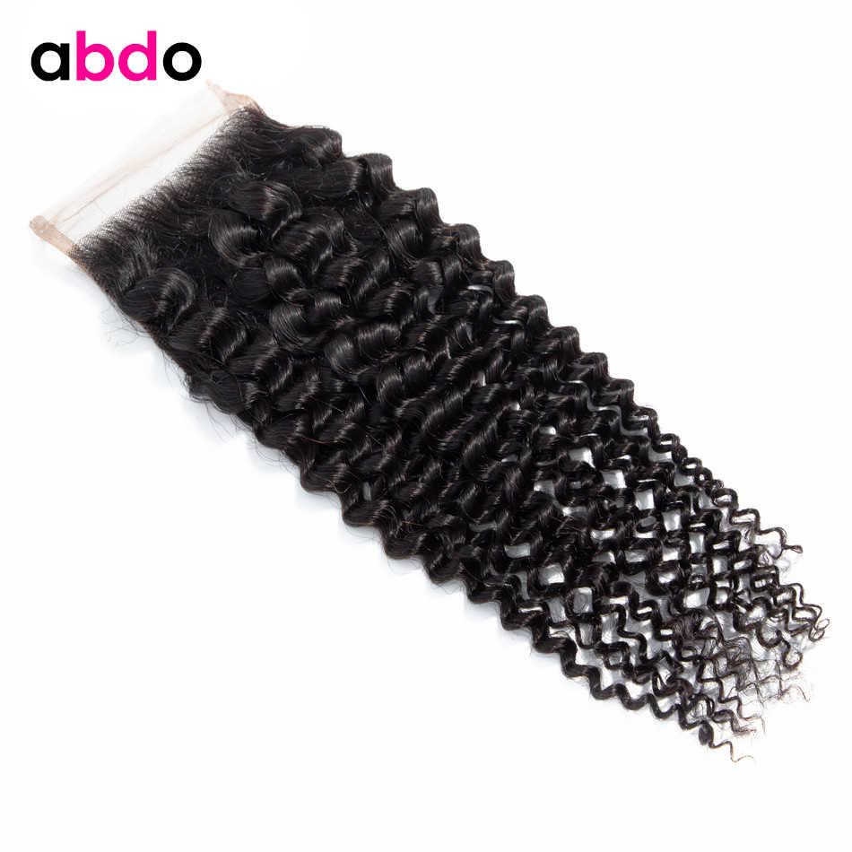 ONDA profunda brasileña 4*4 Cierre de encaje Color Natural no Remy 8-24 pulgadas abdo 100% cabello humano cierre de encaje de tres partes medio gratis