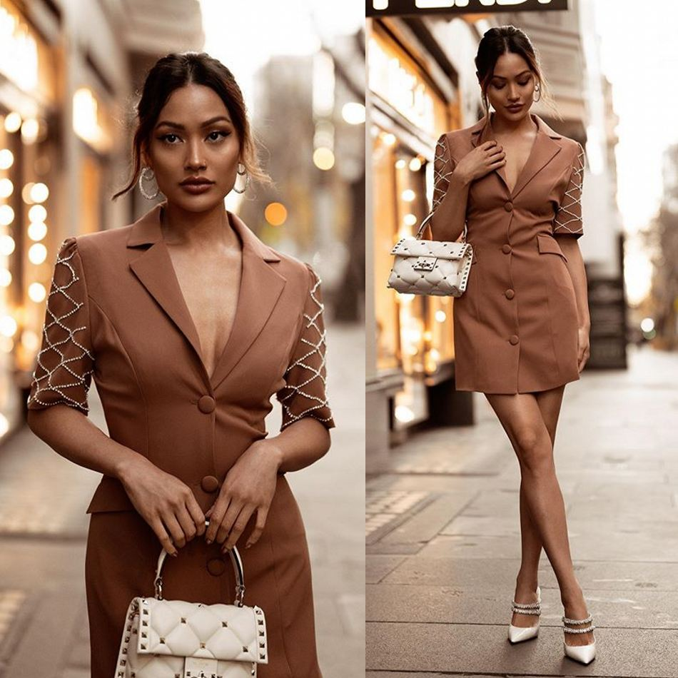 Brown Mother of the Bride Dresses Women Business Formal Short Dress Suit Set Tuxedos Beading Half Sleeve Guest Wedding Prom Wear