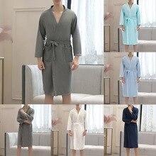 Thin Summer Kimono Fashion Robe Men Women Sexy Bathrobe Waffle Robes Soft Peigno
