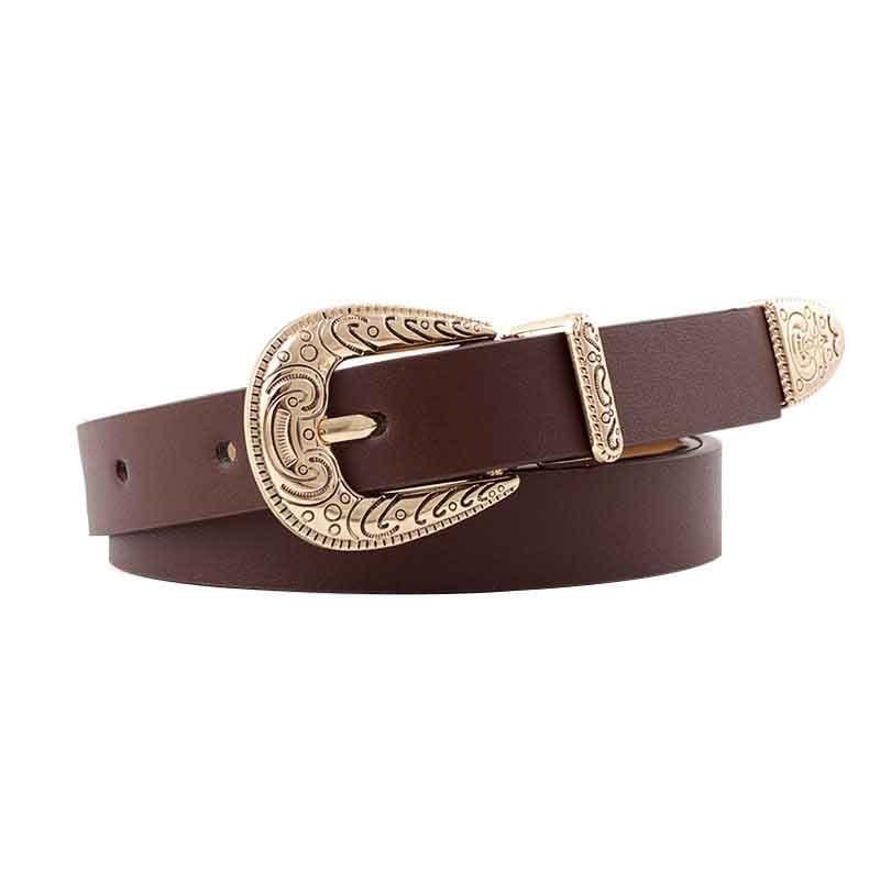 2019 Women's Fashion High Quality Vintage Cave Pin Buckle Belt Luxury Thin Leather Belt Designer Belt Jeans Dress 5
