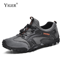 YIGER New Cross-country running shoes man Hiking casual outdoor mesh Non-slip Wear resistant male walking  349